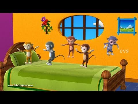 Five Little Monkeys Jumping On The Bed 3d Animation English Nursery Rhyme For Children Kids Nursery Rhymes Five Little Monkeys Rhymes For Kids
