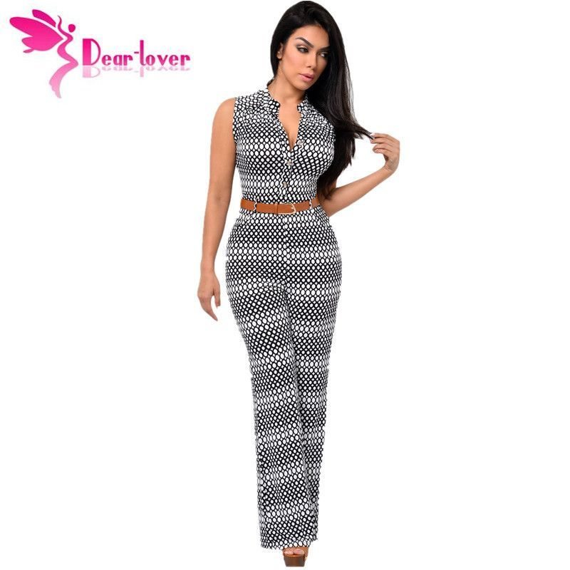 f3cd6a640 DearLover Fashion Big Women Sleeveless Maxi Overalls Belted Wide Leg  Jumpsuit 7 Colors S-2XL Plus Size macacao long pant LC60932