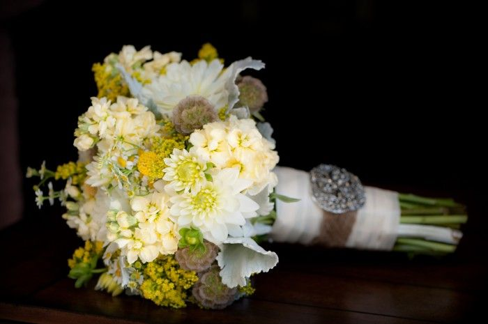 The white dahlias, scabiosa pods and billy balls made this a fun and rustic bouquet! Yantz Photography, wedding and design by agoodaffair.com