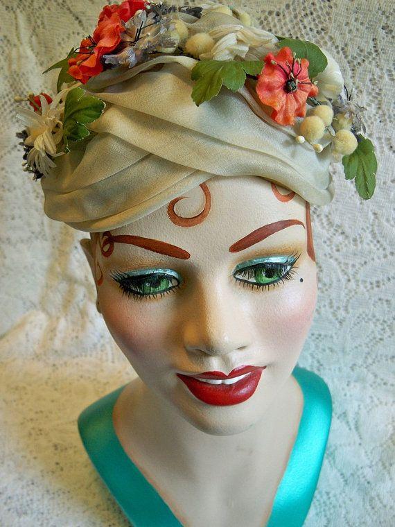 Vintage 1960 Ladies Floral Millinery Hat Mireille Vidal Designer