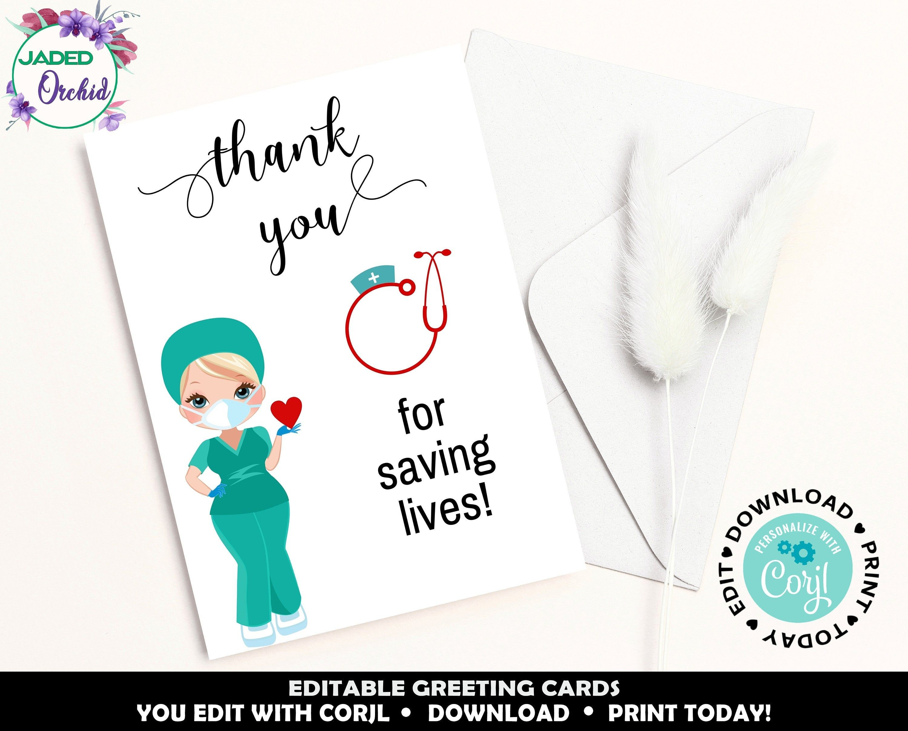 Printable Thank You Card For Doctors Nurses Paramedics Etsy In 2021 Printable Thank You Cards Thank You Greetings Thank You Cards