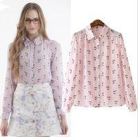 free shipping fashion women tops 2015 women shirt women blouses pink cute cat print chiffon blouse causal lapel female shirts
