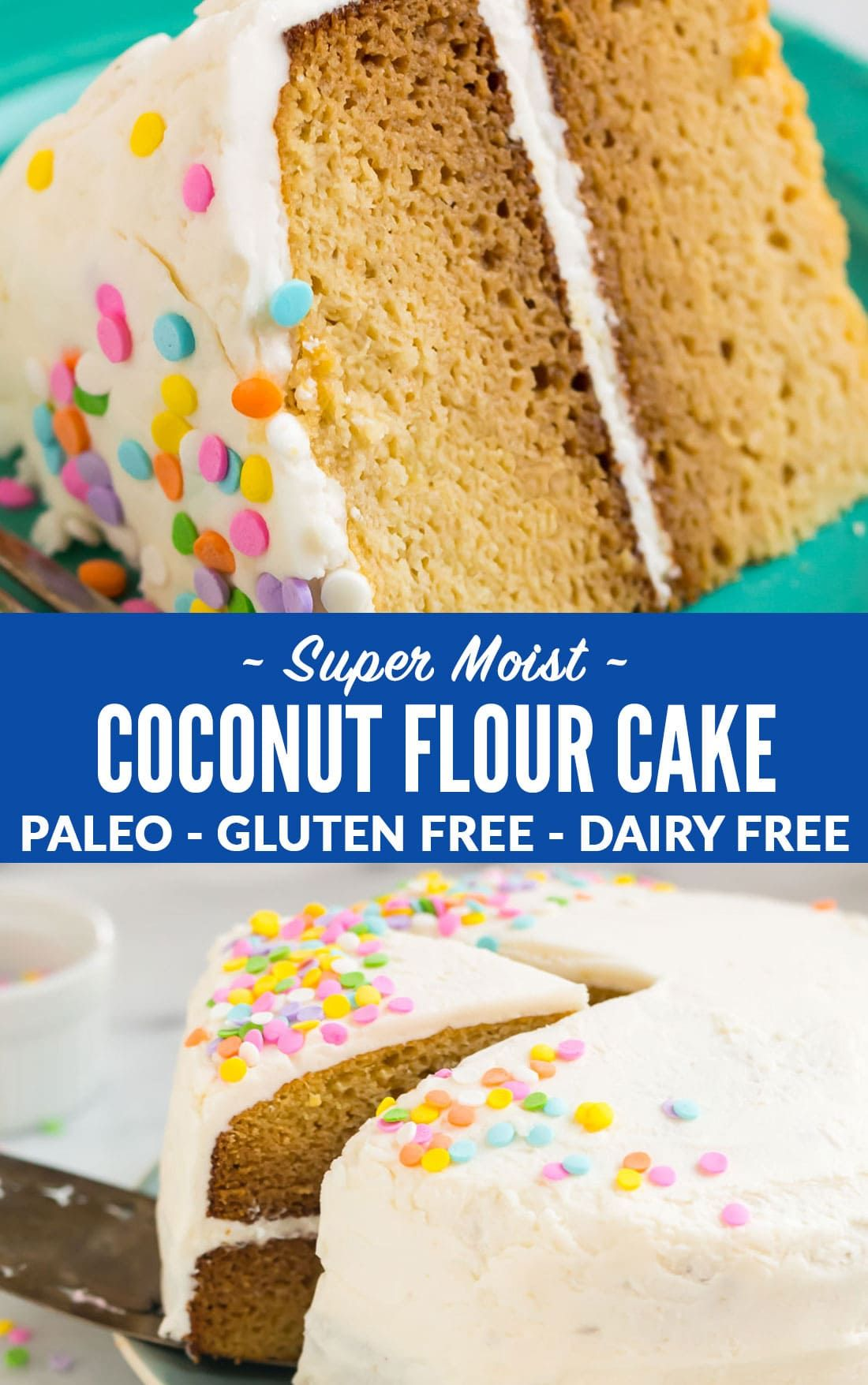 The BEST moist Coconut Flour Cake. Tender and fluffy, this