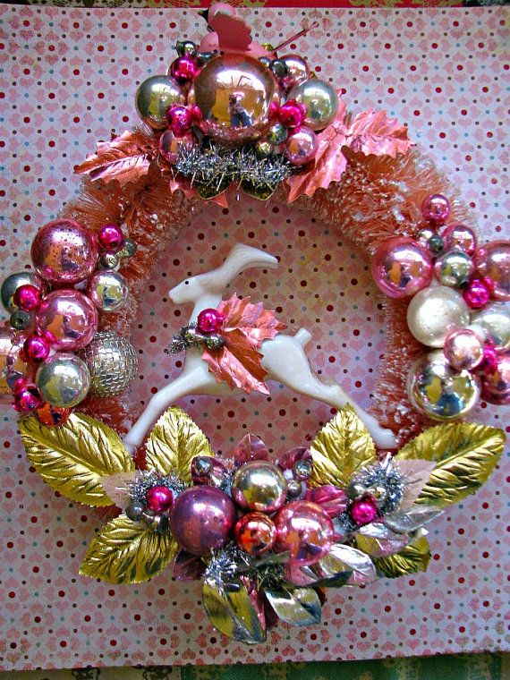 Shiny and Bright Vintage Bottle Brush Christmas Wreath in PINK, GOLD