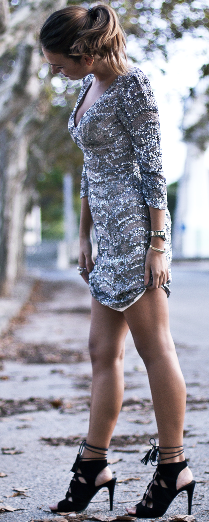 Last. Time. Around. Lace Sequin Little Dress Fall Party Style Inspo