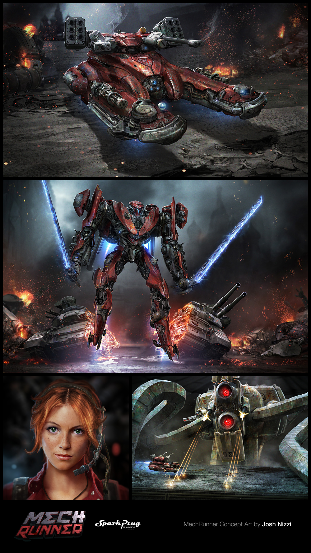 Take a look at MechRunner Concept Art by Josh Nizzi! http://goo.gl/ynjvnK  Concept Artist and Designer Josh Nizzi was kind enough to share some of the concept art he created for MechRunner, an arcade action game developed by Spark Plug Games.