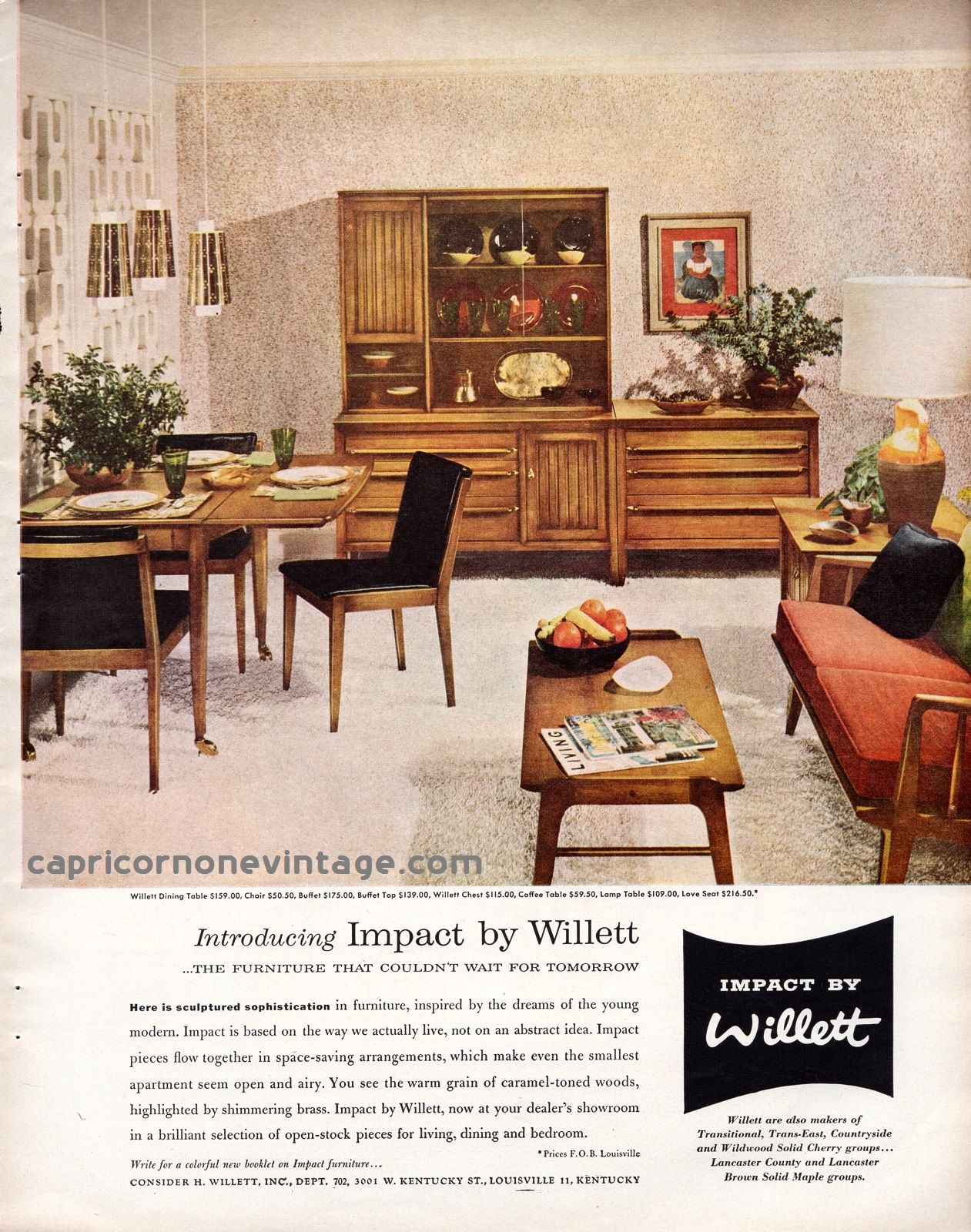 1957 impact by willett furniture magazine ad mid century modern furnishings retro room decor 1950s vintage advertising