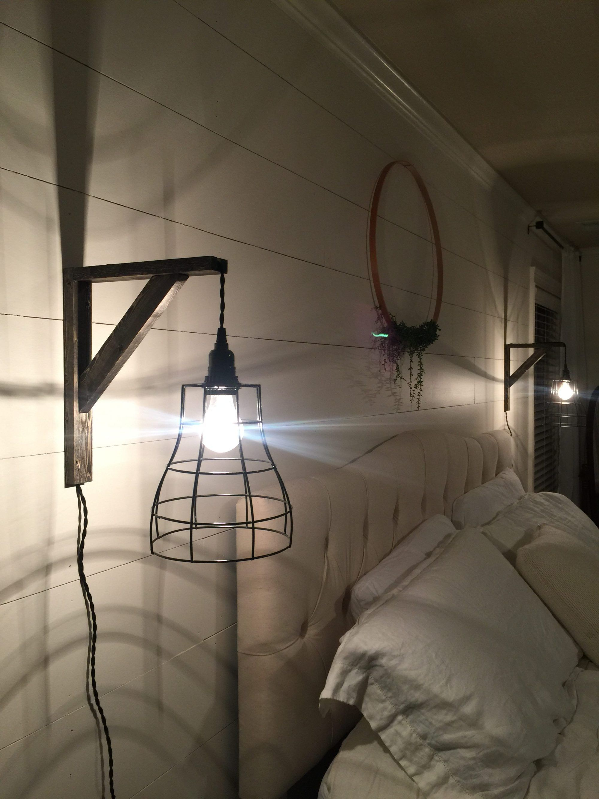 Diy Cage Pendant Lights Shiplap