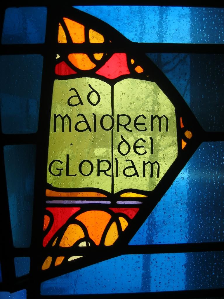"A.M.D.G. Stained glass window- ""For the greater glory of God..."" -St. Ignatius"