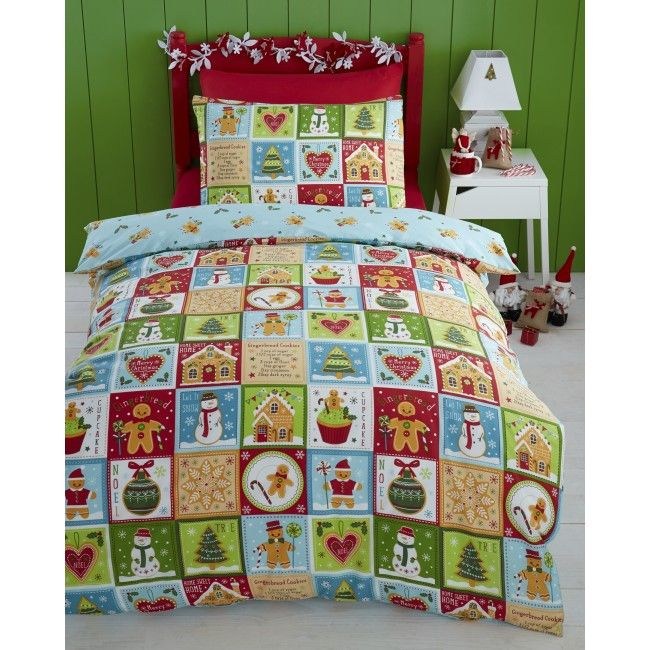 Christmas Gingerbread Man And Snowman Single Duvet Set Add To The Excitement Of With This Brightly Coloured Pillowcase