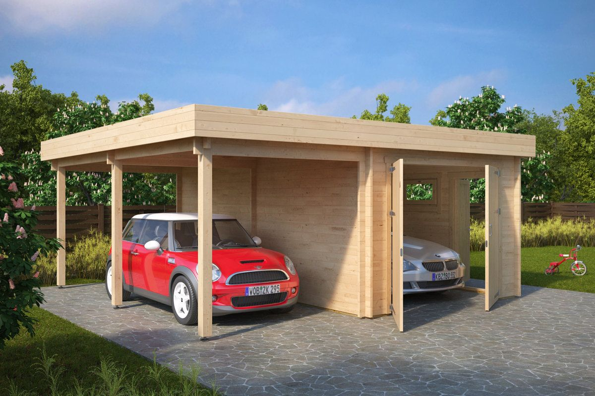 Kombi Modell Mit Carport Und Garage Typ H 44mm 6 X 6 M Summer House Garden Garden Cabins Garage
