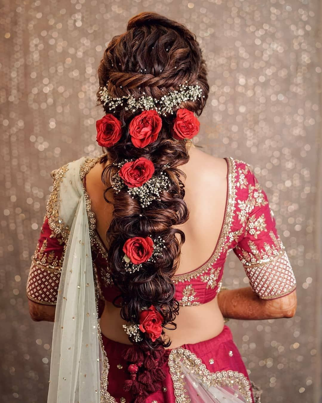 this twisted #braid with babys breath and red roses is total