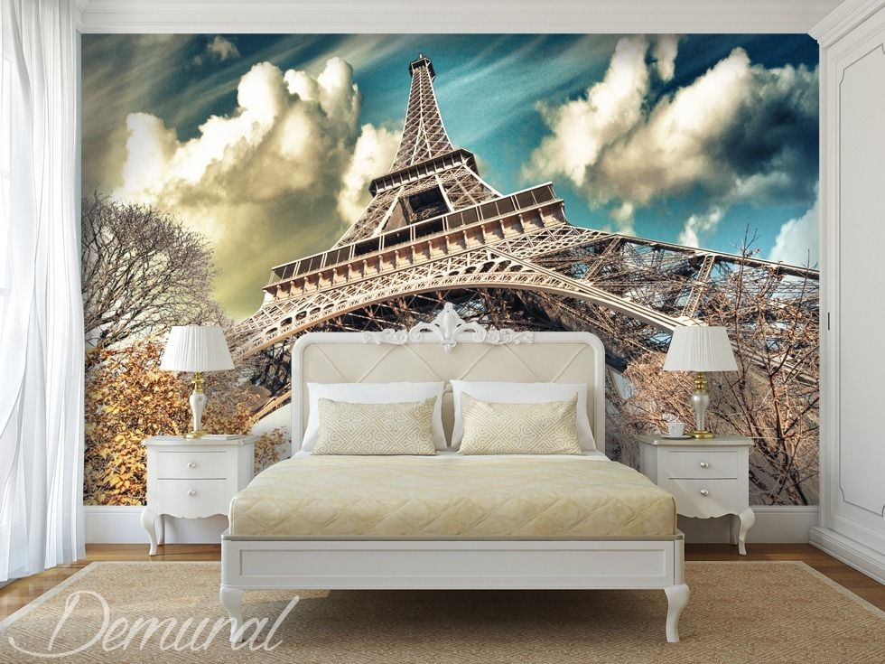 Under the roofs of paris eiffel tower wallpaper mural photo wallpapers demural