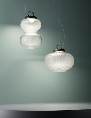 Suspension Kanji LED LED ˜ 43 x H 39 cm Blanc Monture noire