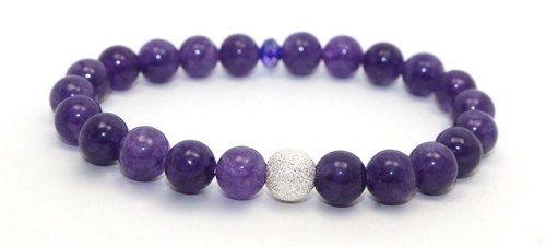 Amethyst and Silver Stardust Stretch Bangle Bracelet | AyaDesigns - Jewelry on ArtFire