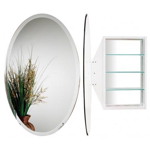 Alno 24 W X 36 H Oval Mirror Cabinet With Beveled Door White