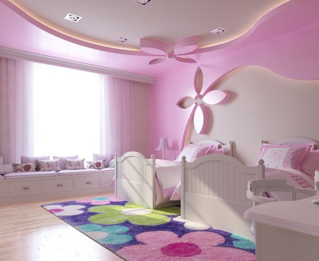 Pink Gypsum Board Design For Girl Kid E2 80 99s Room That