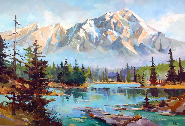 Ponds Before Pyramid 40 X 58 Randy Hayashi Scenery Paintings Landscape Paintings Landscape Paintings Acrylic