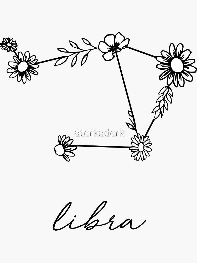 Photo of 'Libra Zodiac Wildflower Constellation' Sticker by aterkaderk