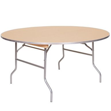 European Birch 60 5ft Round Wood Banquet Folding Table With