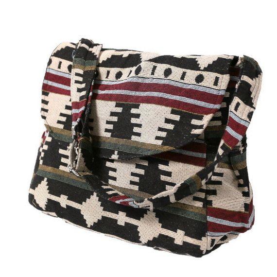 Hippie Hobo Messenger Bag Hmong Camera Purse Handbag Hand Woven Canvas Cotton - IKM29 #camerapurse