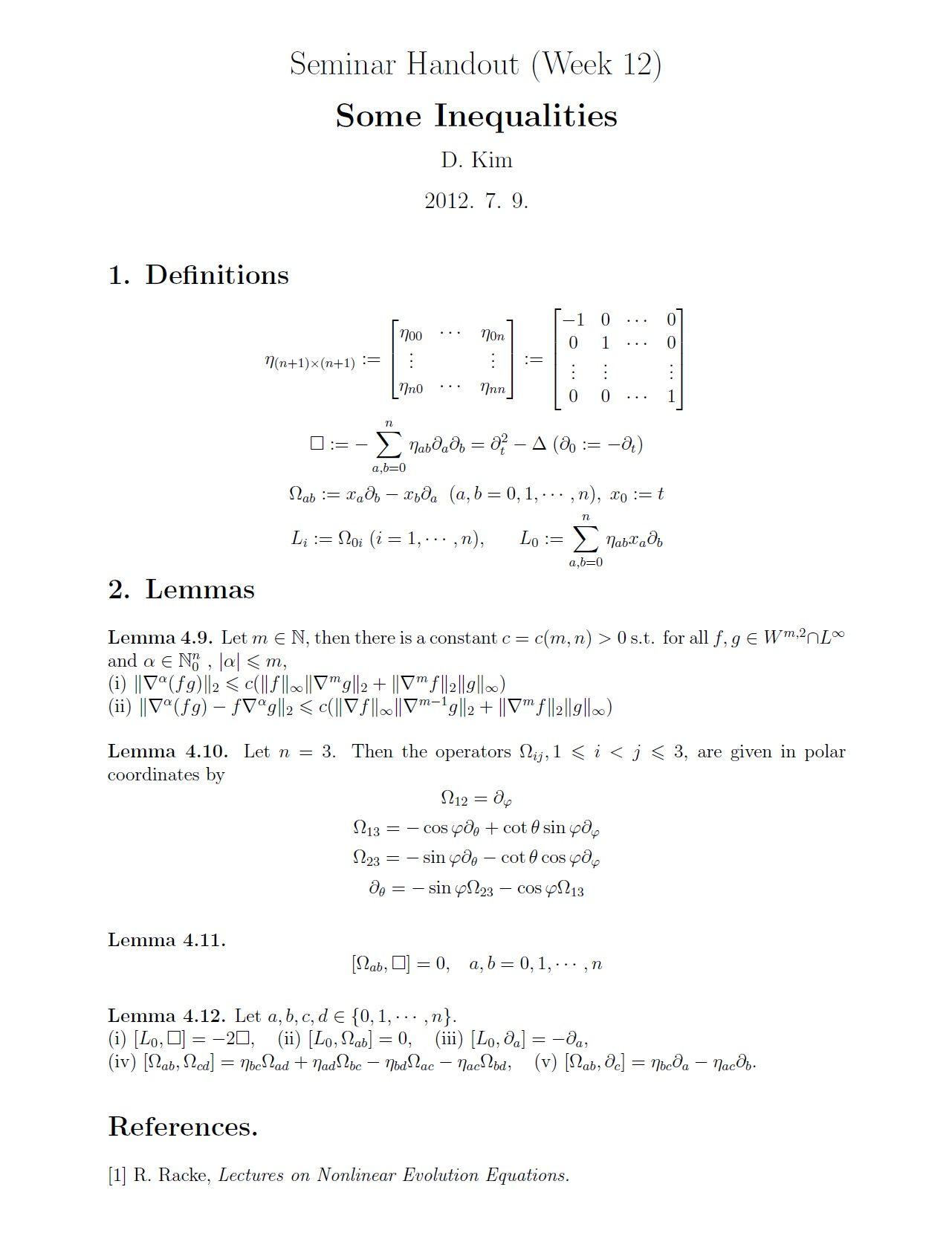 M1 Seminar] Week 11,12 : Introduction to the Klainerman Vector Field