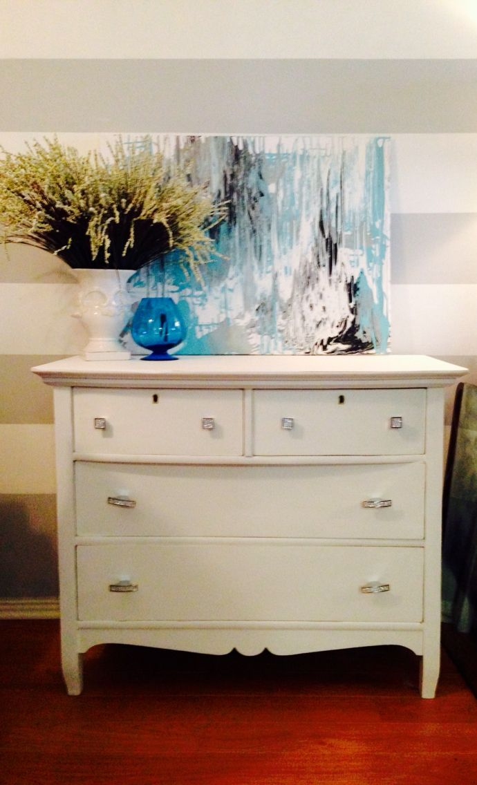 Updated Dresser Using Chalk Paint And A One Of Kind Acrylic Painting By Yours Truly