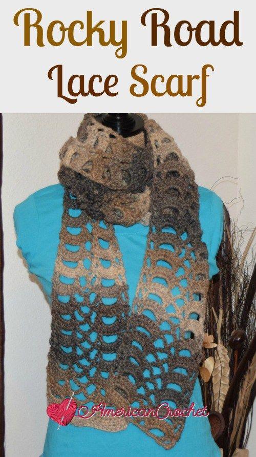 Free Crochet Pattern Rocky Road Lace Scarf By American Crochet