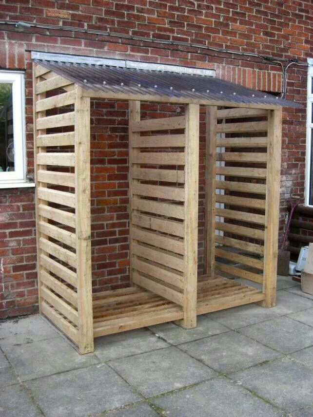 Covered Outdoor Storage : Covered wooden rack for wood pile garden patio