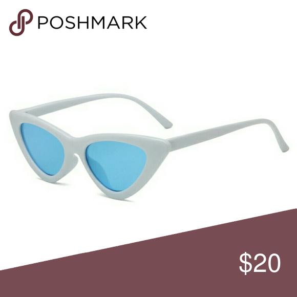 White Cateye Sunglasses W Blue Lens Nwt Nwt Blue Lenses Cat Eye Sunglasses Fashion Tips