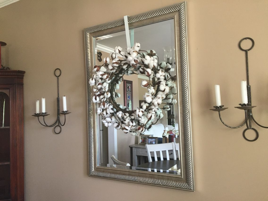 Finally Got A Cotton Stem Wreath For My Dining Room Mirror