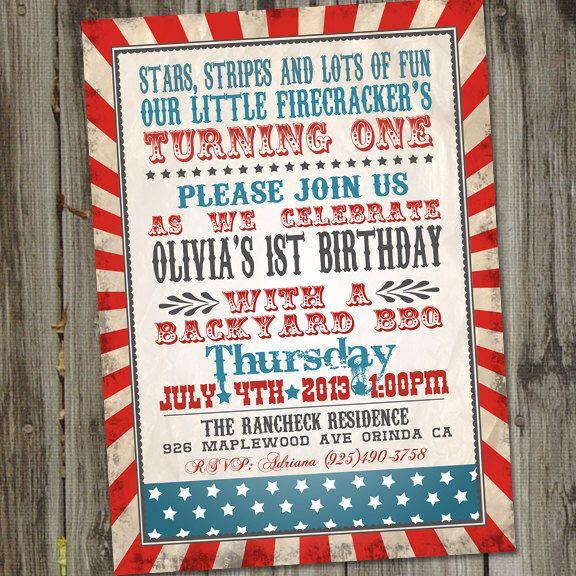 Little Firecracker Retro Vintage Fourth of July Birthday Invitation by partymonkey on Etsy https://www.etsy.com/listing/150629027/little-firecracker-retro-vintage-fourth