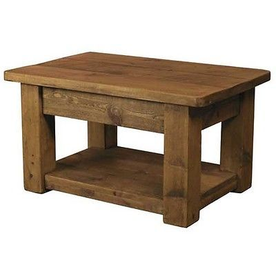 New Solid Wood Coffee Table Chunky Rustic Plank Pine Display