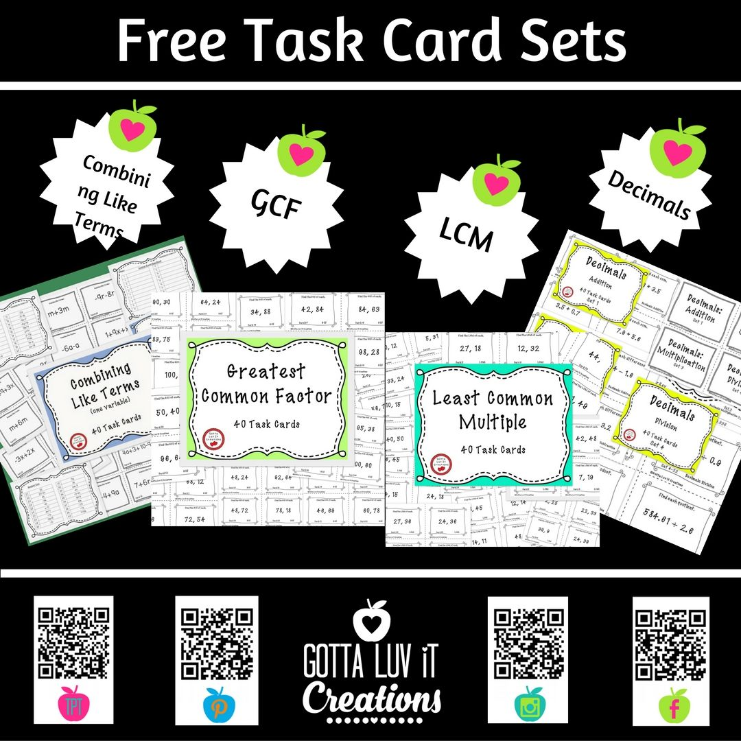 Click For Free Task Cards Sets For Combining Like Terms