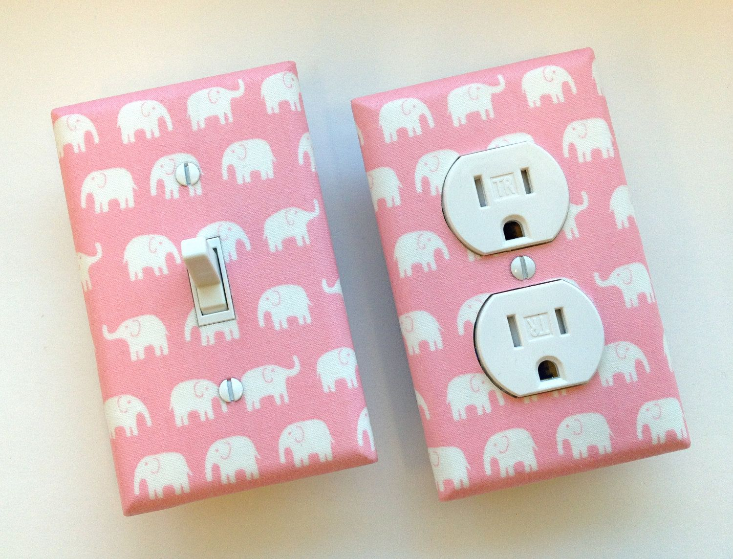 Pink Elephant Light Switch Plate & Outlet Cover SET OF 2/ Tiny Tip Top Fabric. $19.00, via Etsy.