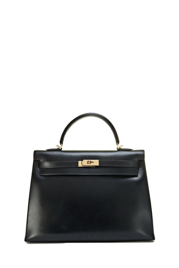 WHAT GOES AROUND COMES AROUND Black Box Calf Kelly Sellier 35cm - Hermès.   whatgoesaroundcomesaround  bags  shoulder bags  hand bags  leather  lining    a32bd3c0e08db