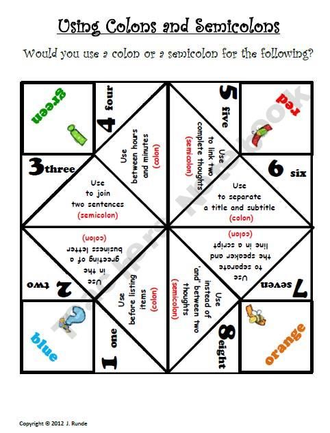 Cootie Catcher Punctuation  template for other cootie catchers