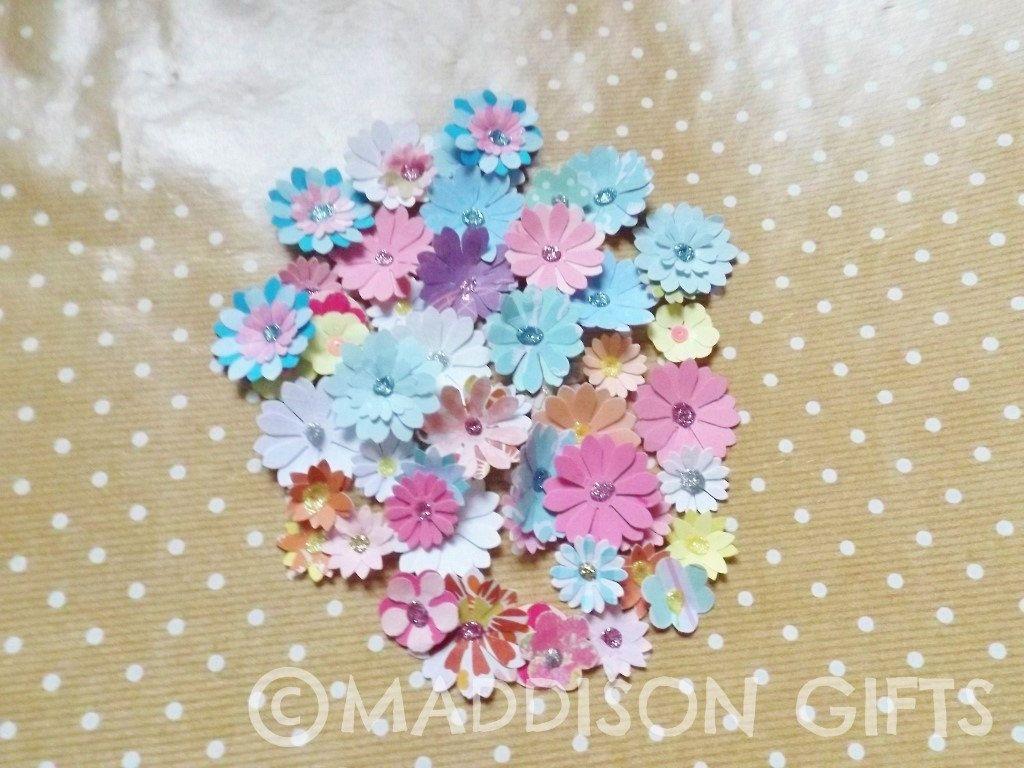 mixed paper flowers papercraft embellishments scrapbooking