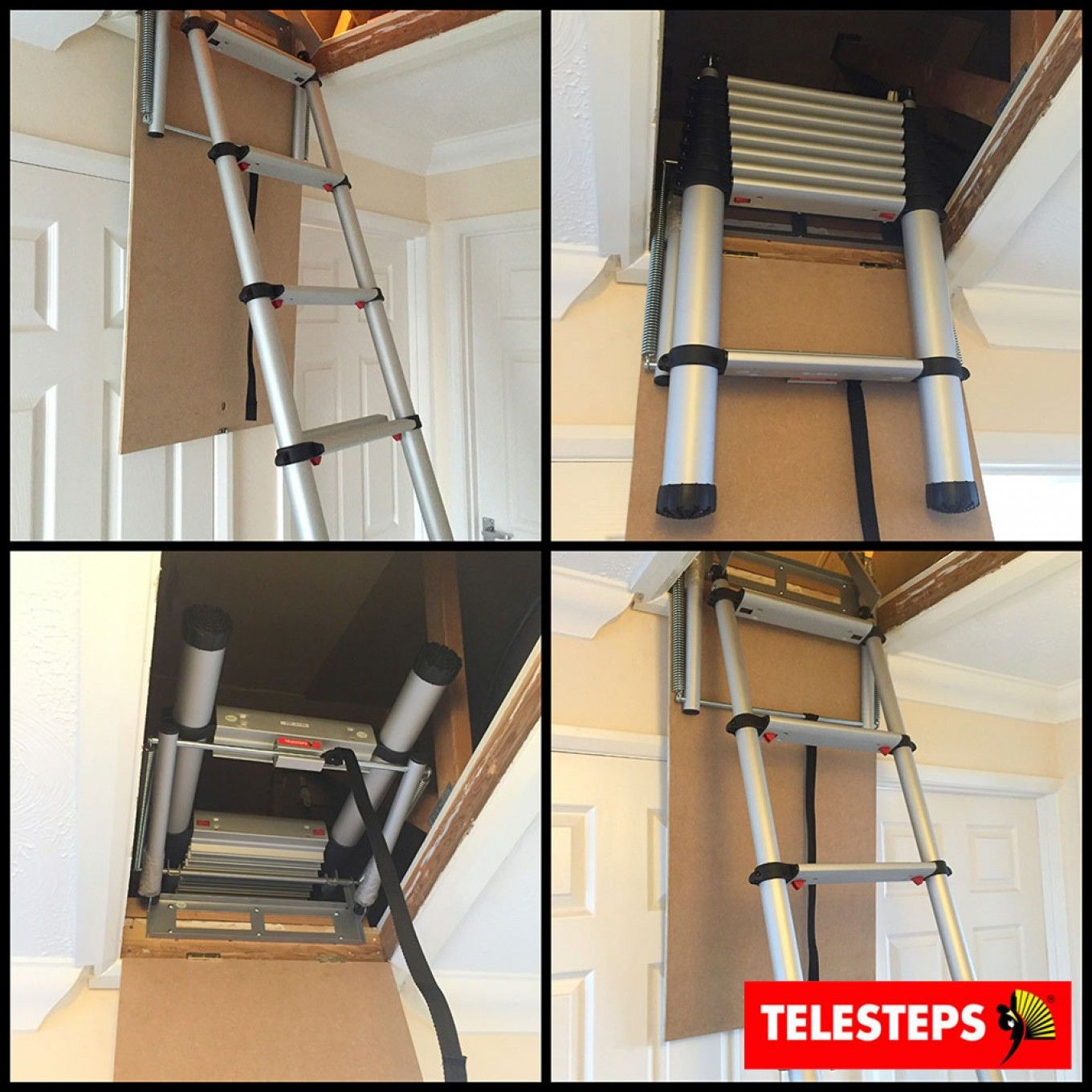 Telesteps 60324 Telescopic Loft Ladder For Small Hatch Sizes Attic Renovation Loft Ladder Attic Ladder
