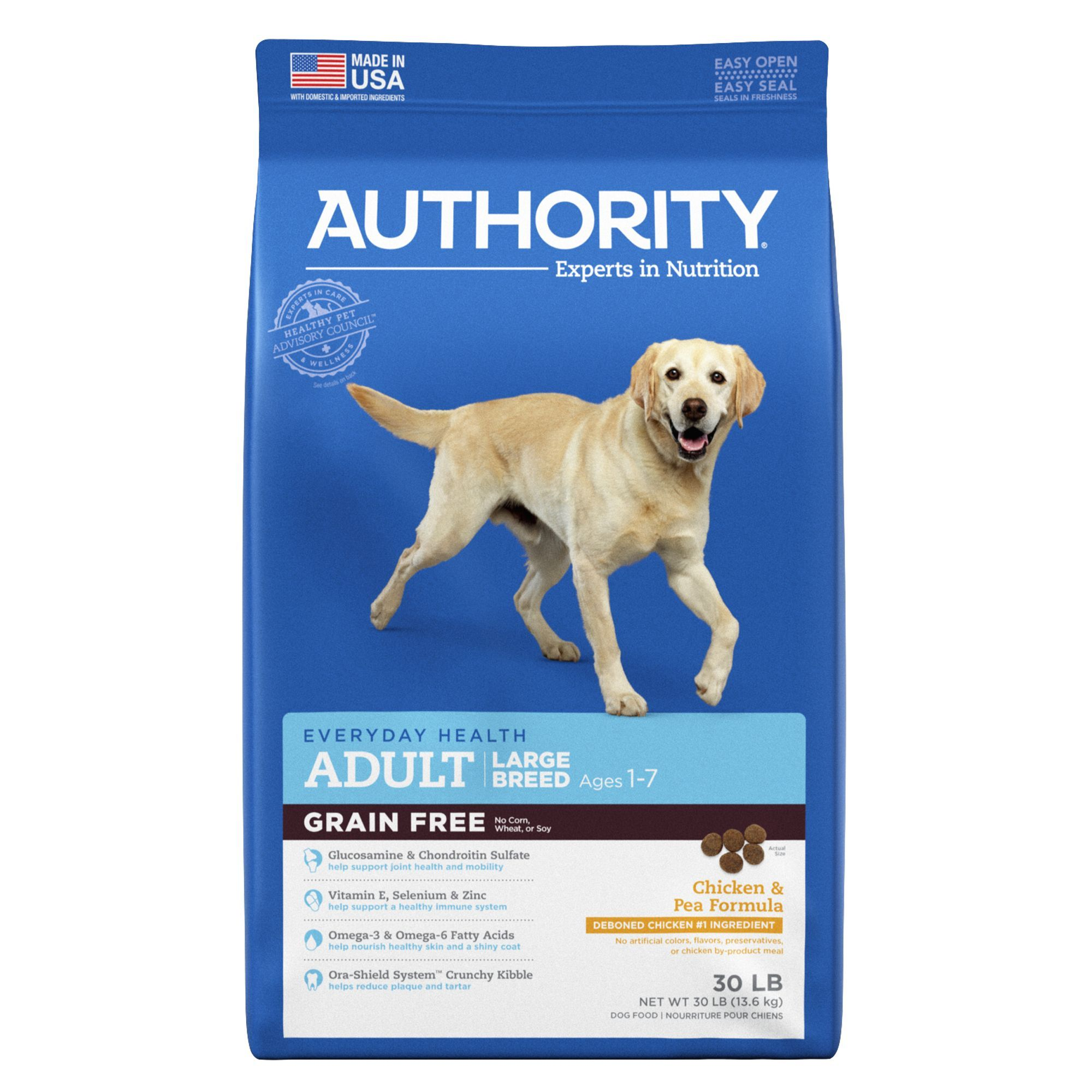 Authority Large Breed Adult Dog Food Chicken Pea Grain Free