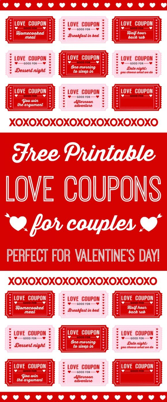 Free Printable Love Coupons for Couples on Valentine's Day! Just download them, print them out and give them to the one you love! See more Valentine's Day party and gift ideas at CatchMyParty.com.