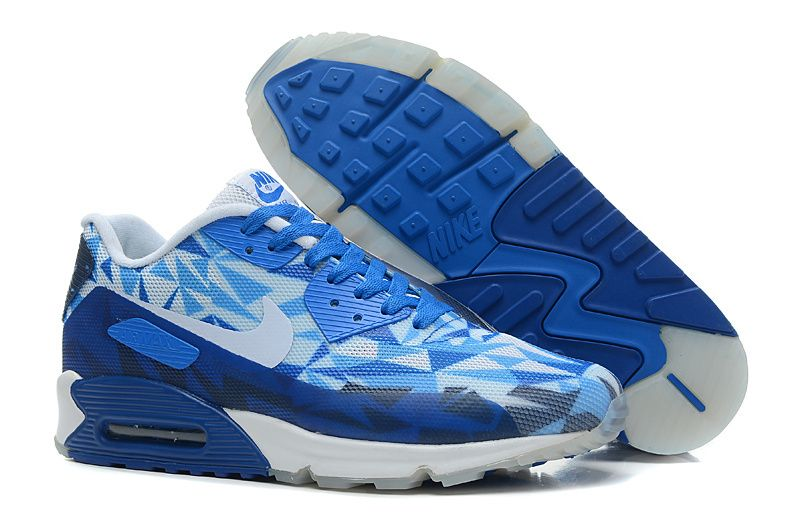 Nike Air Max 90 Hyperfuse PRM 25th Anniversary Womens Shoes Blue White  Green  Cool Ice
