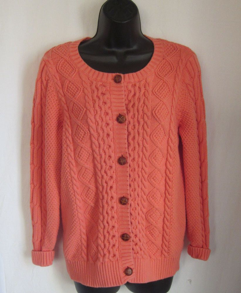 LL BEAN Women's Tangerine Button Front Cable Knit Cardigan Sweater ...