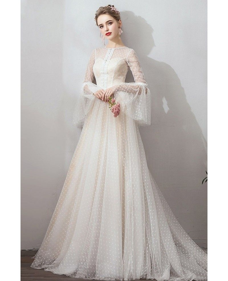 French Romantic Polka Dot Vintage Wedding Dress With Long Sleeves Sweep Train #Y…
