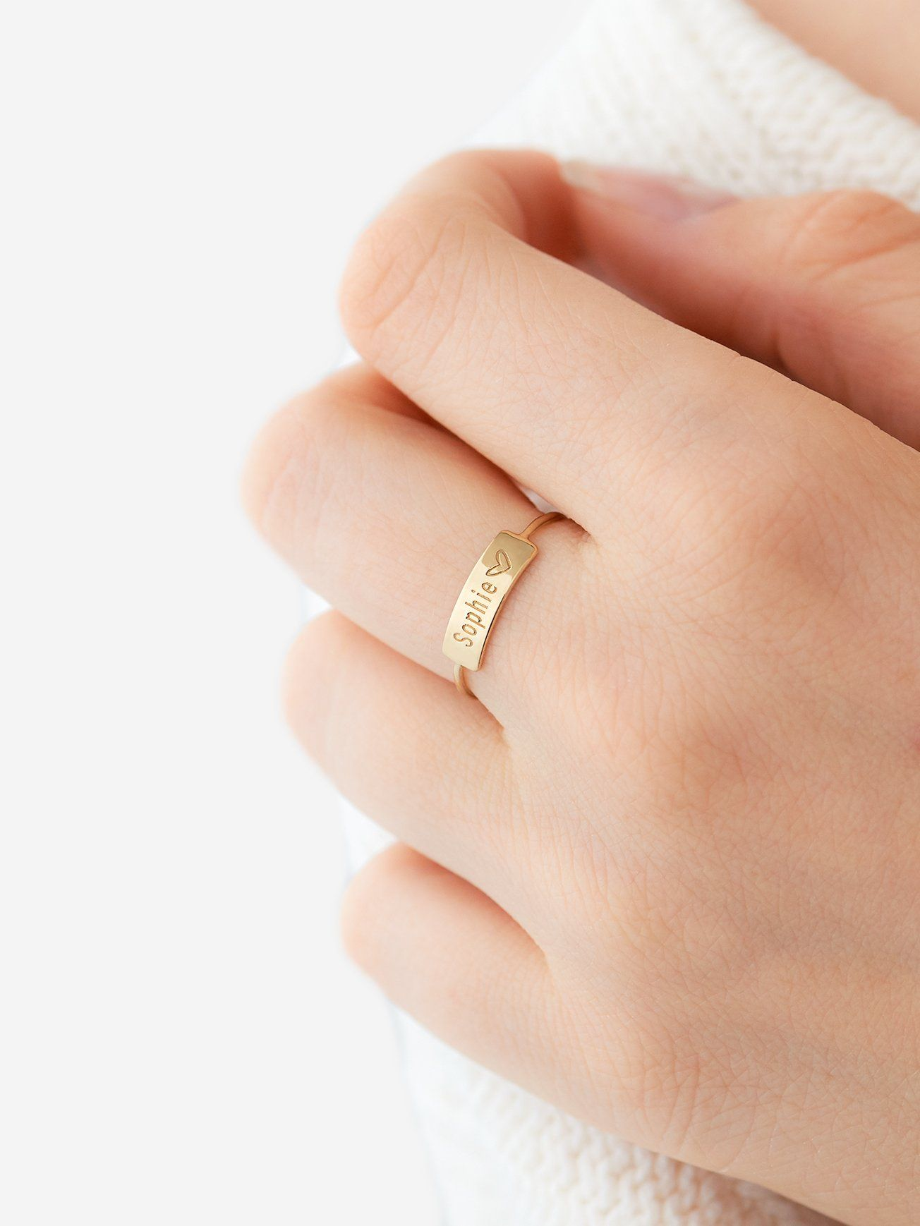 Piercing jewelry names  Small Personalized Name Ring    K Gold Over Sterling Silver