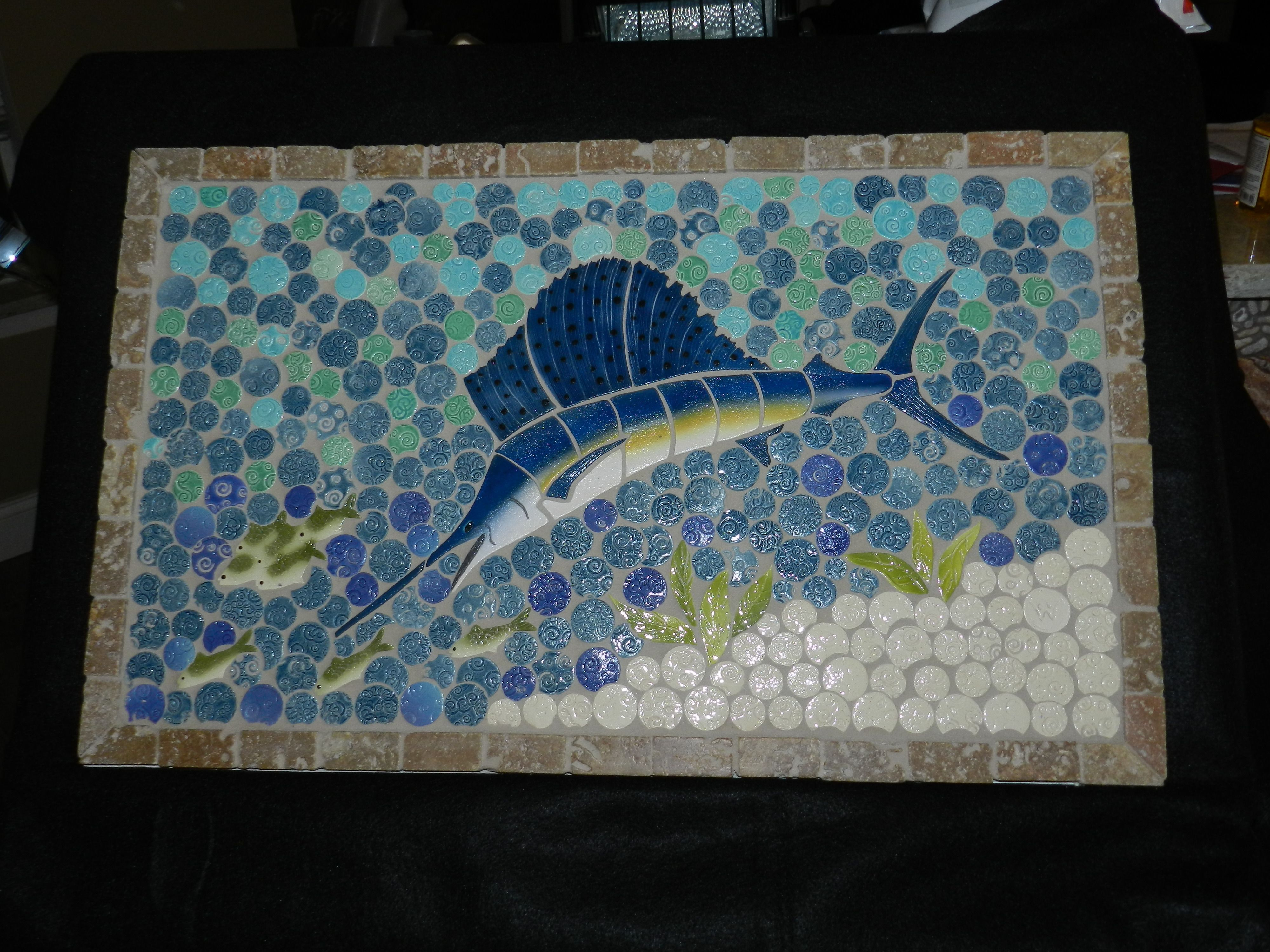 Sailfish Backsplash or shower insert. Custom made by custommosaics ...