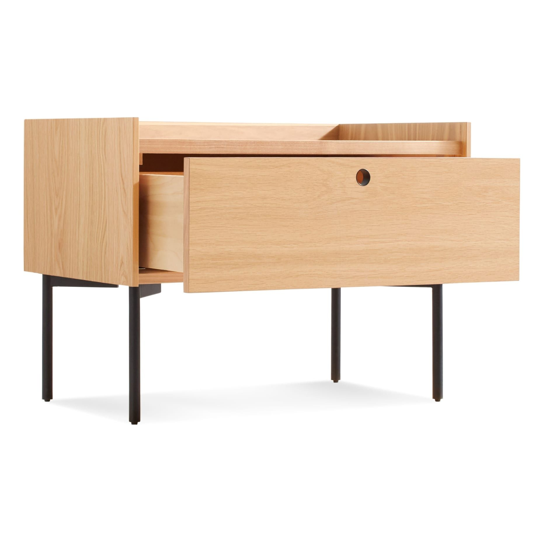Clad Nightstand, Hickory / Oyster Modern bedside table