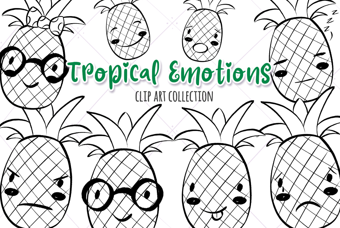 Tropical Emotions Black And White Graphic By Keepinitkawaiidesign Creative Fabrica