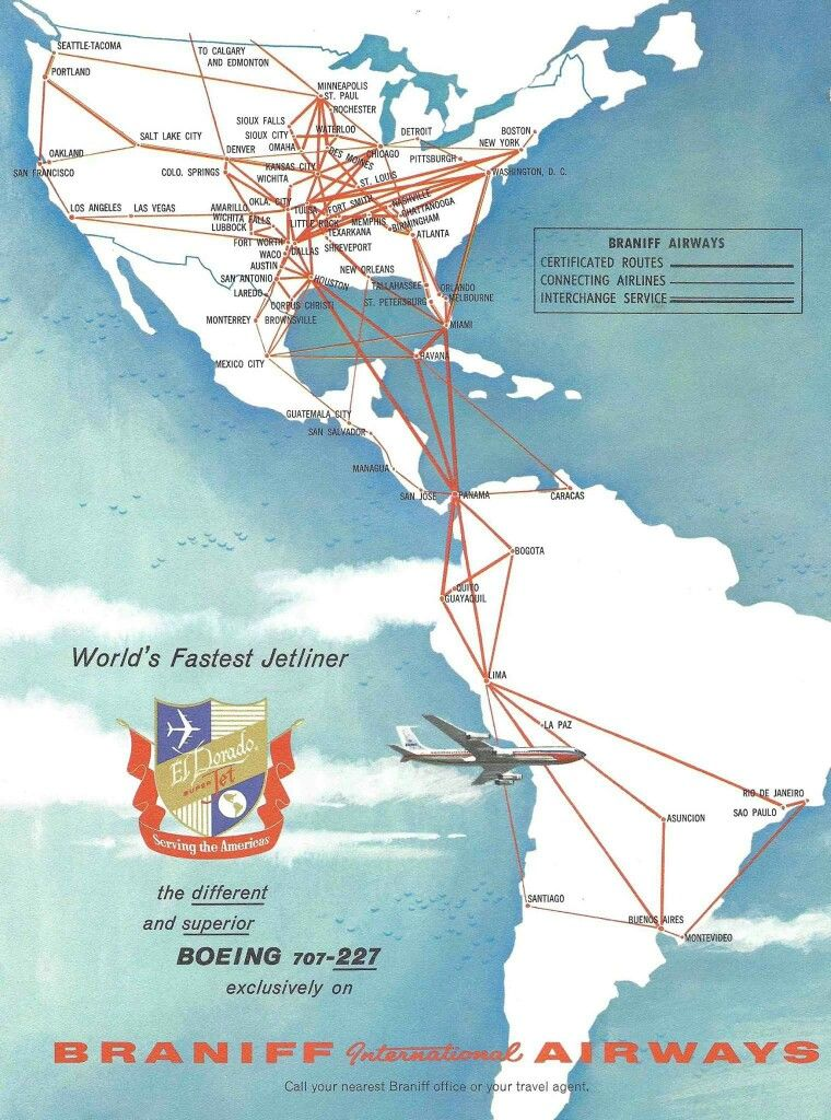 1960 Braniff International route map Route map, Vintage