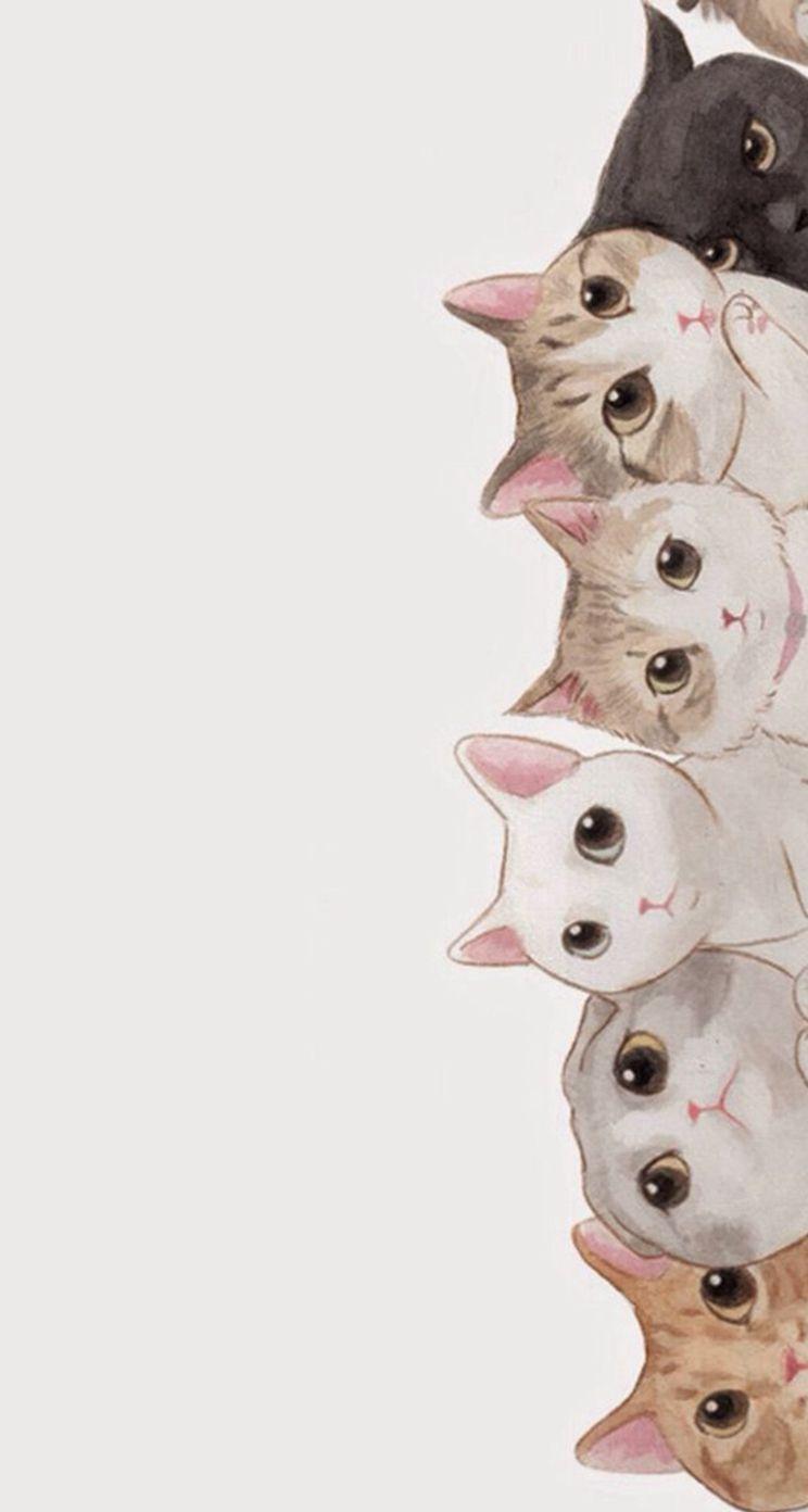 ネコ達 Iphone5s壁紙 待受画像ギャラリー 猫 イラスト かわいい 猫 絵 ネコ イラスト